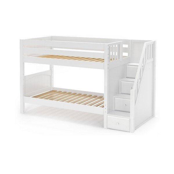 Stacker Low Bunk Bed By Maxtrix Kids White Panel Twin Stairs
