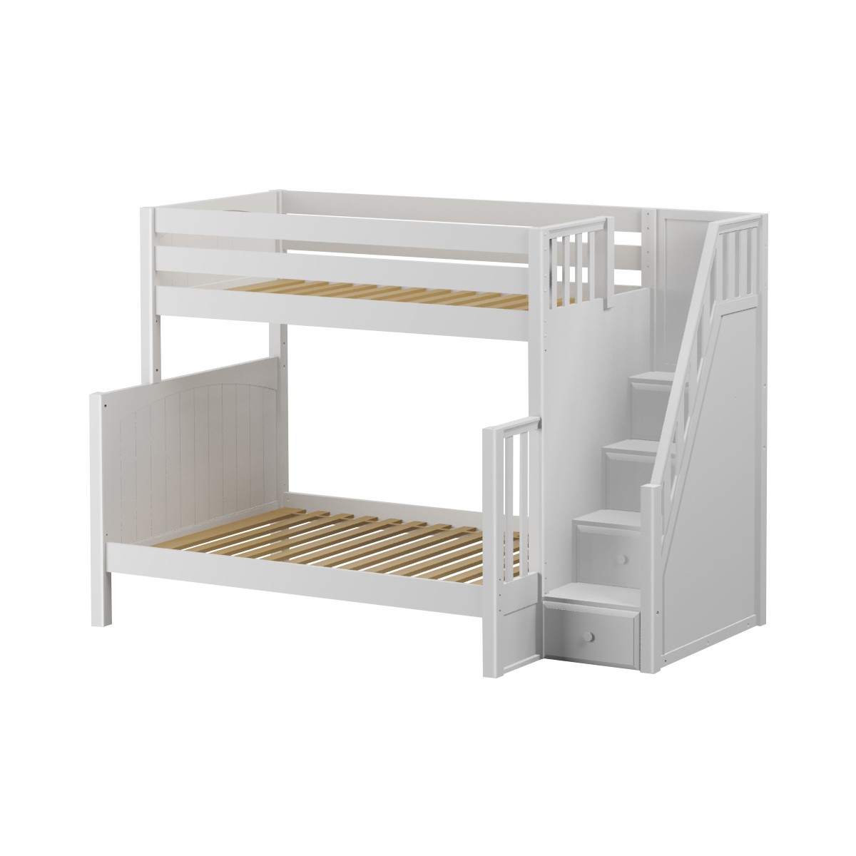 Picture of: Totem High Tof Bunk Bed By Maxtrix Kids White Panel Stairs