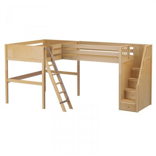 Crest NP High Corner Loft by Maxtrix Kids: Natural, Panel, Stairs, Full/Twin