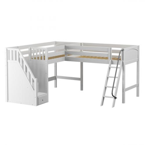 Dos WP Medium Corner Loft by Maxtrix Kids: White, Panel, Stairs, Twin