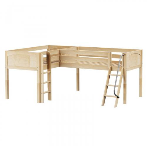 Double NP Low Corner Loft by Maxtrix Kids: Natural, Panel, Twin