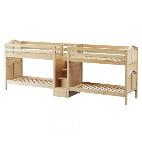 Cool Quadruple Bunk Bed by Maxtrix Kids: Natural, Curved