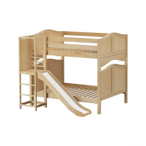 Empire High Bunk Bed by Maxtrix Kids: Natural, Curved, Full, Slide