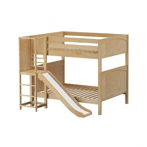 Empire High Bunk Bed by Maxtrix Kids: Natural, Panel, Full, Slide