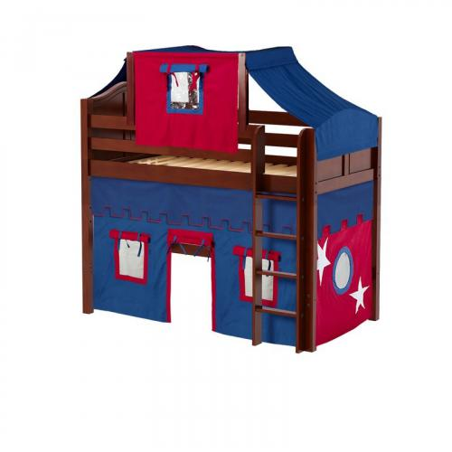 Bingo Mid Loft by Maxtrix Kids: Chestnut, Curved, Twin, 21-Blue / Red