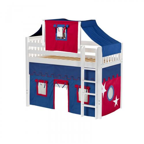 Bingo Mid Loft by Maxtrix Kids: White, Slats, Twin, 21-Blue / Red