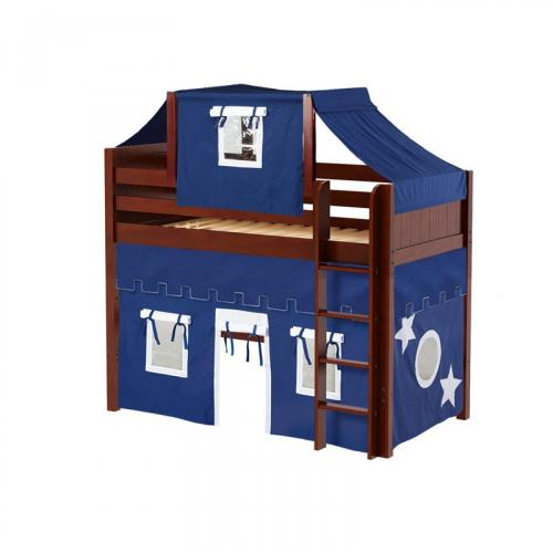 Bingo Mid Loft by Maxtrix Kids: Chestnut, Panel, Twin, 22-Blue / White