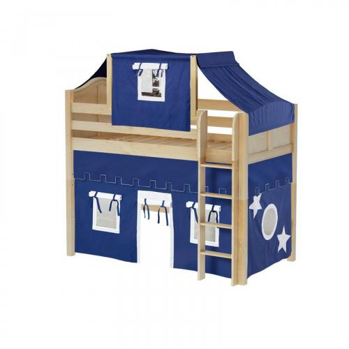 Bingo Mid Loft by Maxtrix Kids: Natural, Curved, Twin, 22-Blue / White