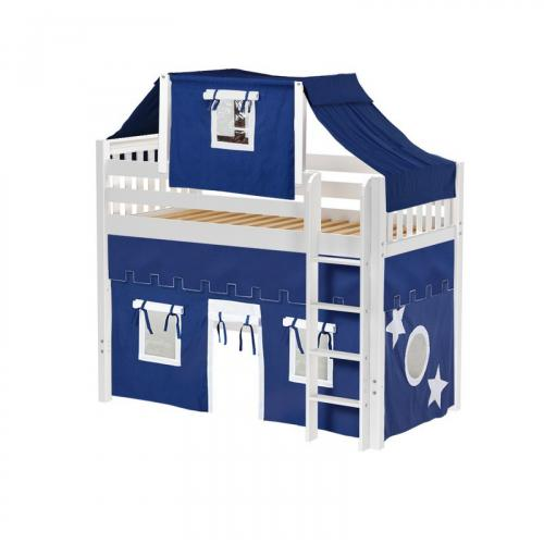 Bingo Mid Loft by Maxtrix Kids: White, Slats, Twin, 22-Blue / White