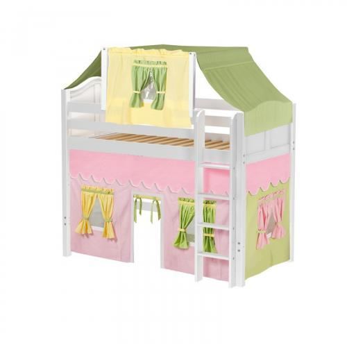 Bingo Mid Loft by Maxtrix Kids: White, Curved, Twin, 25-Pink / Yellow / Green