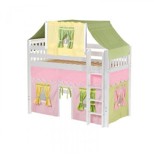 Bingo Mid Loft by Maxtrix Kids: White, Slats, Twin, 25-Pink / Yellow / Green