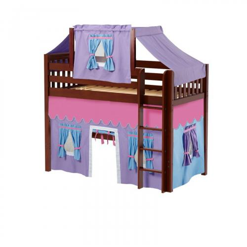 Bingo Mid Loft by Maxtrix Kids: Chestnut, Slats, Twin, 27-Purple / Blue / Hot Pink