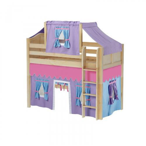 Bingo Mid Loft by Maxtrix Kids: Natural, Curved, Twin, 27-Purple / Blue / Hot Pink