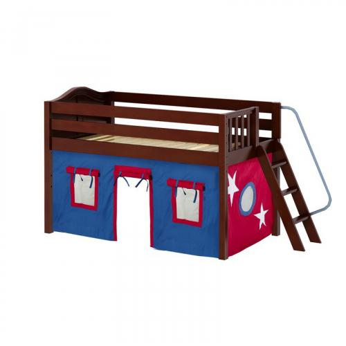 Cabin Low Loft by Maxtrix Kids: Chestnut, Curved, Full, 21-Blue / Red