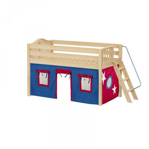 Cabin Low Loft by Maxtrix Kids: Natural, Curved, Full, 21-Blue / Red