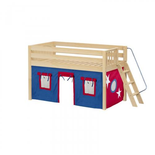 Cabin Low Loft by Maxtrix Kids: Natural, Panel, Full, 21-Blue / Red