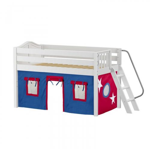 Cabin Low Loft by Maxtrix Kids: White, Curved, Full, 21-Blue / Red