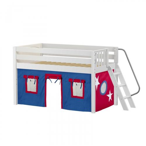 Cabin Low Loft by Maxtrix Kids: White, Panel, Full, 21-Blue / Red