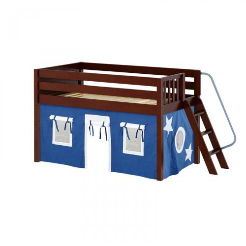 Cabin Low Loft by Maxtrix Kids: Chestnut, Panel, Full, 22-Blue / White