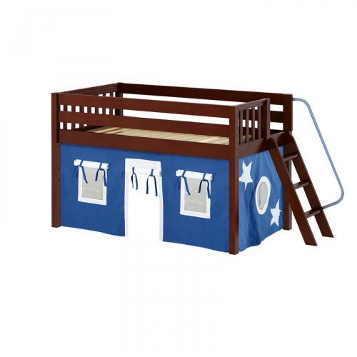 Cabin Low Loft by Maxtrix Kids: Chestnut, Slats, Full, 22-Blue / White
