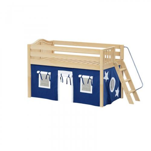 Cabin Low Loft by Maxtrix Kids: Natural, Curved, Full, 22-Blue / White