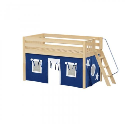 Cabin Low Loft by Maxtrix Kids: Natural, Panel, Full, 22-Blue / White