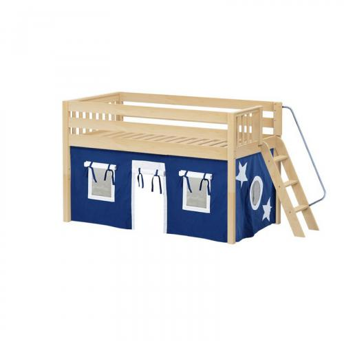 Cabin Low Loft by Maxtrix Kids: Natural, Slats, Full, 22-Blue / White