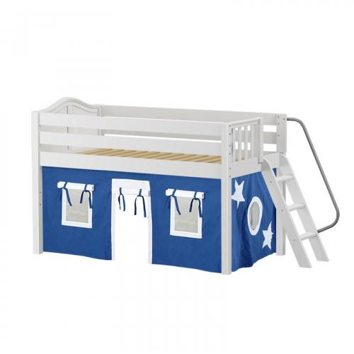 Cabin Low Loft by Maxtrix Kids: White, Curved, Full, 22-Blue / White