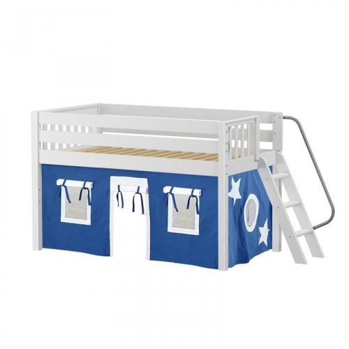 Cabin Low Loft by Maxtrix Kids: White, Slats, Full, 22-Blue / White