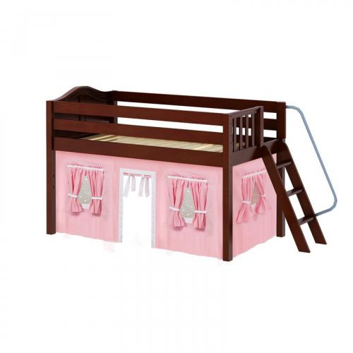 Cabin Low Loft by Maxtrix Kids: Chestnut, Curved, Full, 23-Pink / White
