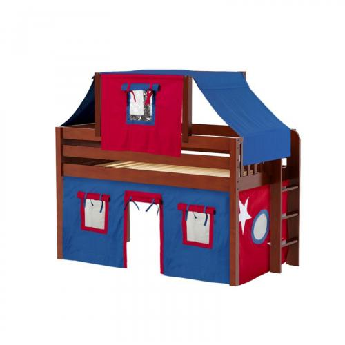 Cave Low Loft by Maxtrix Kids: Chestnut, Panel, Full, 21-Blue / Red