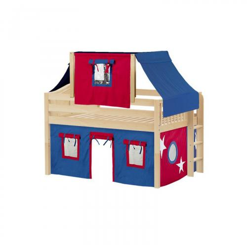 Cave Low Loft by Maxtrix Kids: Natural, Curved, Full, 21-Blue / Red