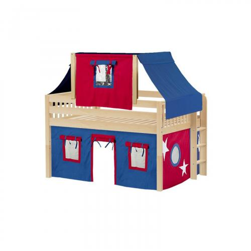 Cave Low Loft by Maxtrix Kids: Natural, Slats, Full, 21-Blue / Red