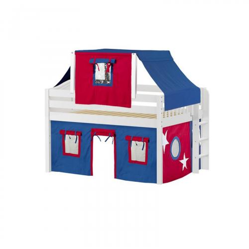 Cave Low Loft by Maxtrix Kids: White, Curved, Full, 21-Blue / Red