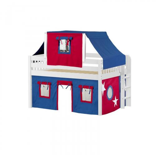 Cave Low Loft by Maxtrix Kids: White, Slats, Full, 21-Blue / Red