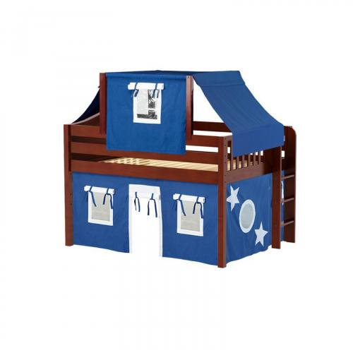 Cave Low Loft by Maxtrix Kids: Chestnut, Curved, Full, 22-Blue / White