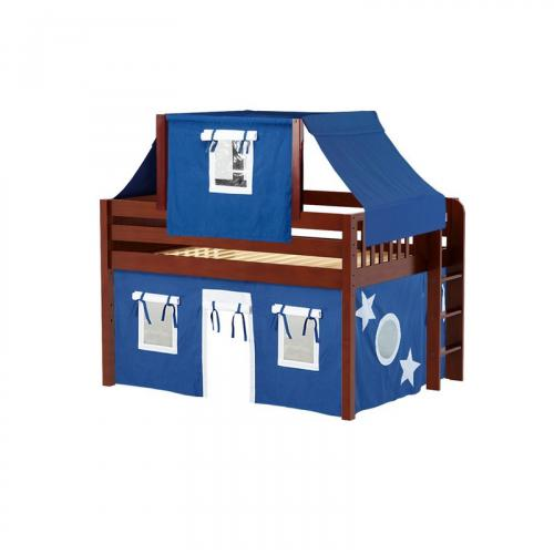 Cave Low Loft by Maxtrix Kids: Chestnut, Panel, Full, 22-Blue / White