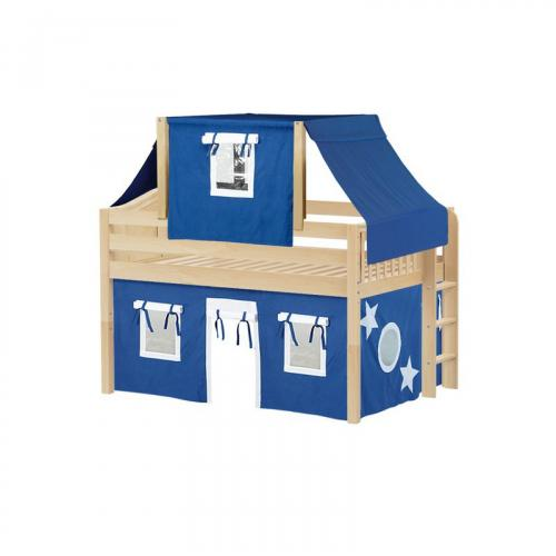 Cave Low Loft by Maxtrix Kids: Natural, Curved, Full, 22-Blue / White