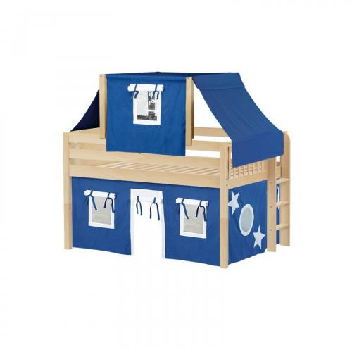 Cave Low Loft by Maxtrix Kids: Natural, Panel, Full, 22-Blue / White