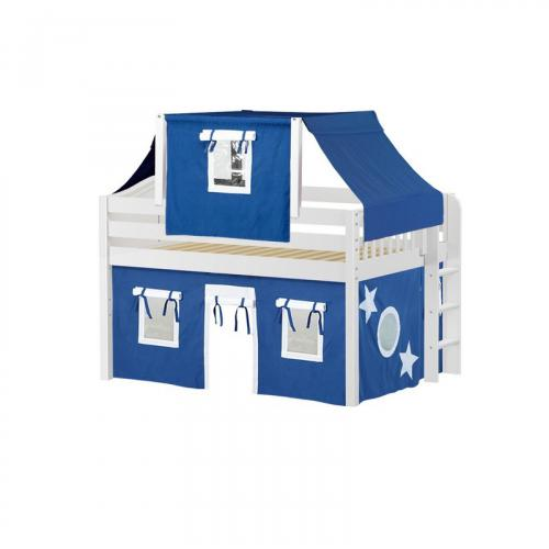 Cave Low Loft by Maxtrix Kids: White, Curved, Full, 22-Blue / White