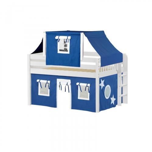 Cave Low Loft by Maxtrix Kids: White, Panel, Full, 22-Blue / White