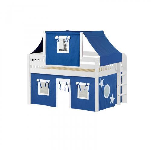 Cave Low Loft by Maxtrix Kids: White, Slats, Full, 22-Blue / White