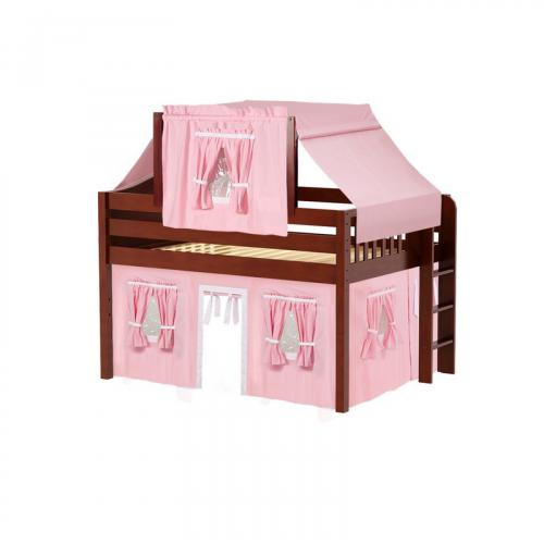 Cave Low Loft by Maxtrix Kids: Chestnut, Curved, Full, 23-Pink / White