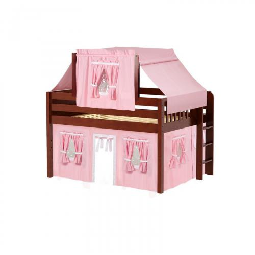 Cave Low Loft by Maxtrix Kids: Chestnut, Panel, Full, 23-Pink / White