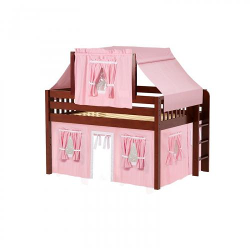 Cave Low Loft by Maxtrix Kids: Chestnut, Slats, Full, 23-Pink / White