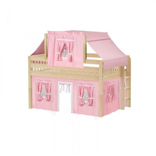 Cave Low Loft by Maxtrix Kids: Natural, Slats, Full, 23-Pink / White