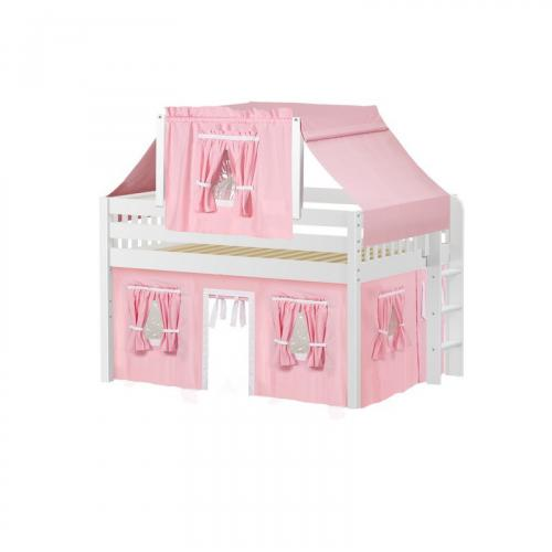 Cave Low Loft by Maxtrix Kids: White, Slats, Full, 23-Pink / White