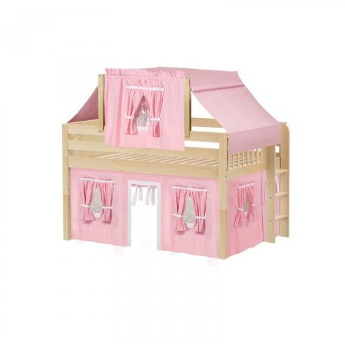 Cave Low Loft by Maxtrix Kids: Natural, Panel, Full, 23-Pink / White