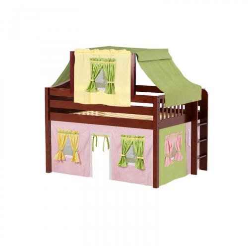 Cave Low Loft by Maxtrix Kids: Chestnut, Curved, Full, 25-Pink / Yellow / Green