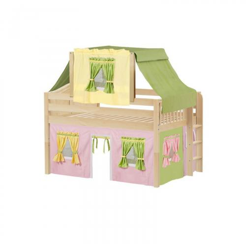 Cave Low Loft by Maxtrix Kids: Natural, Curved, Full, 25-Pink / Yellow / Green